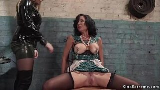 Huge tits blonde lesbian Milf domme Aiden Starr makes big tits brunette Veronica Avluv eat her pussy before she double fists her pussy and ass