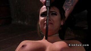 Chesty victim in restrain bondage got torment