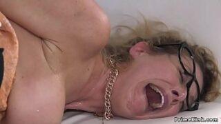 Granny takes stiffy in the bum in BDSM sesh