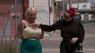 Ginger-haired mistress pulls thru the streets monster tits blonde alt breezy