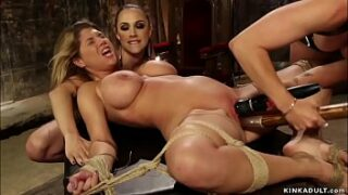 Blinded big tits blonde MILF sapphic victim Carissa Montgomery is made idolize feet to lezdoms Bella Rossi and Chanel Preston then gets anal invasion fucked